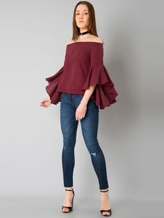 Buy FabAlley Maroon Solid Bardot Off Shoulder Top online in India at best  price. Maroon woven bardot top, has an elasticated off- shoulder neckline,  ...