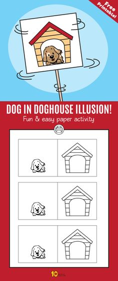 Dog in Doghouse Illusion- Fun & easy paper activity