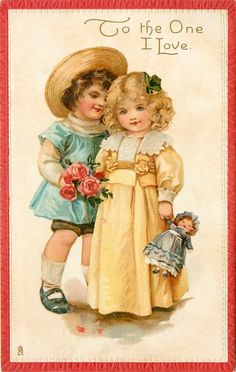 Free freebie printable vintage valentine postcard of boy with girl. Lots more vintage postcards by the Raphael Tuck on this website Valentine Images, Vintage Valentine Cards, Valentines For Kids, Vintage Greeting Cards, Vintage Ephemera, Vintage Pictures, Vintage Images, Victorian Valentines, Valentines Greetings