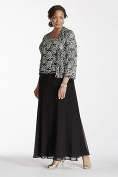 Classic modest look with a stylish flare, this mock two piece dress is ideal for any affair!  Long sleeveless dress features sequin lace bodice and airy chiffon skirt with a matching 3/4 sleeve sequin lace jacket for extra coverage.  Perfect for the Mother of the Bride or Mother of the Groom.  Designed by Emma Street.  Fully lined. Back zip. Imported polyester. Dry clean only.