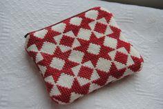 Swedish star folk art cross stitch zipper pouch / coin purse