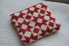 Swedish star folk art cross stitch zipper by ScandivintageKids