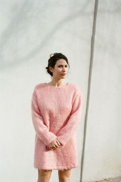 Datura Blog - Eliza Bagg in our Candy Rose Mohair Sweater Dress