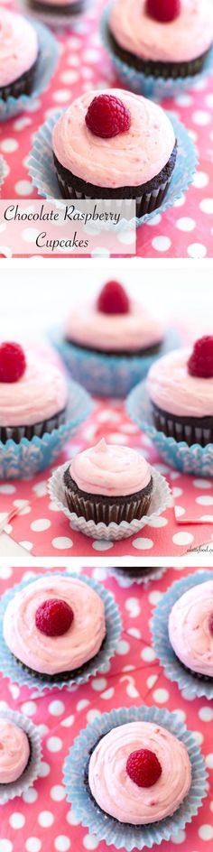 These rich chocolate cupcakes are filled with an easy chocolate mousse and topped with a fresh raspberry buttercream! | www.alattefood.com