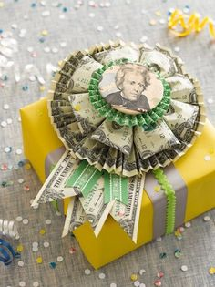 One of my favorite creative gift giving type craft is the money rosette, courtesy of Just Something I Made. What a brilliant idea, a money rosette to give as a wearable gift or to adorn a gift box.  Perfect for birthdays, bar/bat mitzvahs, holidays and graduations.