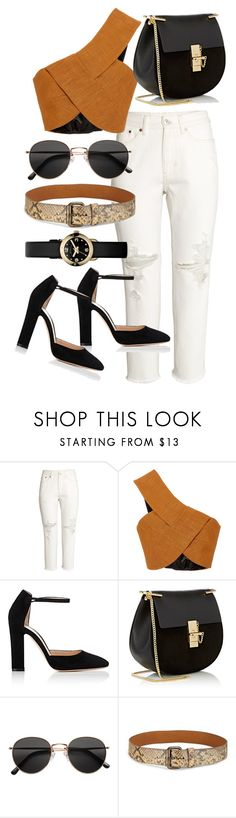 """""""Untitled #21839"""" by florencia95 ❤ liked on Polyvore featuring H&M, Rosetta Getty, Gianvito Rossi, Chloé, Ralph Lauren Collection and Marc by Marc Jacobs"""