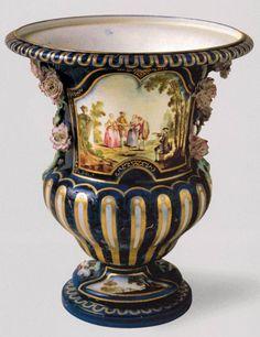 """French Sevres  """"La Boitteux"""" Vase  c. 1752  Soft-paste porcelain, 29 cm, diameter 26 cm  Musée du Louvre, Paris"""