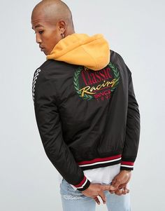 Bershka Bomber Jacket With Detachable Hood And Back Embroidery In Black
