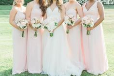 Ashely & Kevin's June Wedding at Regency at Dominion Valley - Jillian Michelle Photography - Blush Pink Bridesmaid Dresses Blush Pink Bridesmaid Dresses, Bridesmaid Accessories, Bridesmaid Bouquet, Wedding Dresses, Pink Dresses, Wedding Party Songs, Beautiful Wedding Venues, Bridesmaids And Groomsmen, Country Club Wedding