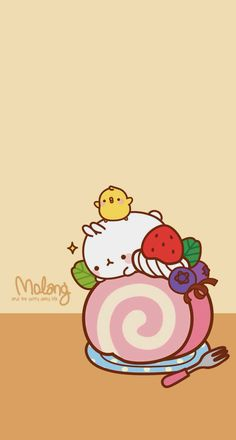 Adorable molang on a cake roll