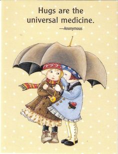 Winter is coming-Hugs Are Universal Medicine Umbrella Friends Fridge Magnet Mary Engelbreit Art Mary Engelbreit, Love Hug, Sweet Quotes, Good Thoughts, Art Quotes, Illustrators, Greeting Cards, Clip Art, My Favorite Things