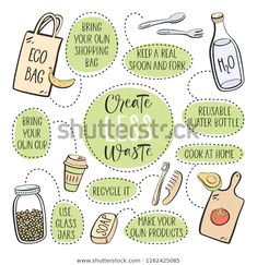Find Zero Waste Eco Lifestyle Vector Design stock images in HD and millions of other royalty-free stock photos, illustrations and vectors in the Shutterstock collection. Thousands of new, high-quality pictures added every day. Diy Utile, Plastic Free July, Save Our Earth, Illustration, Zero Waste, Reduce Waste, Reduce Reuse, Reuse Recycle, Sustainable Living