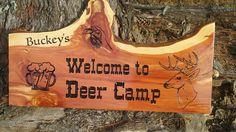 Deer Hunting Deer Camp Engraved Cedar Plank with Bark