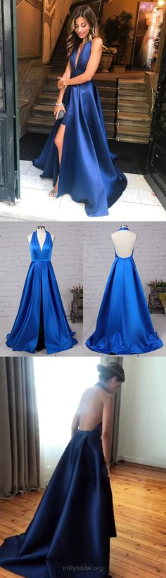Blue Prom Dresses,Long Prom Dresses,Sexy Prom Dresses 2018,A-line Prom Dresses Halter, Modest Prom Dresses For Teens, Unique Prom Dresses Satin Draped #bluedresses