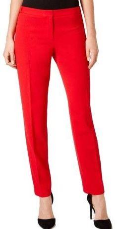 Calvin Klein Red Women's 4P Petite Highline Straight Dress Pants