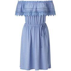 Miss Selfridge Blue Frill Bardot Dress (165 BRL) ❤ liked on Polyvore featuring dresses, blue, blue crochet dress, flutter-sleeve dress, ruffle dress, crochet dress and macrame dress