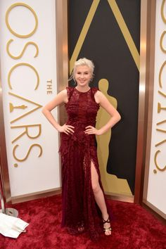 "Another lacy schmatte that says ""tart"" all over it. Not at the Oscars, dear...and not in that dreadful burgundy red. That color is not for fakey blondes.  Oscars 2014 Red Carpet: All The Dresses At The Academy Awards (PHOTOS, VIDEOS)"