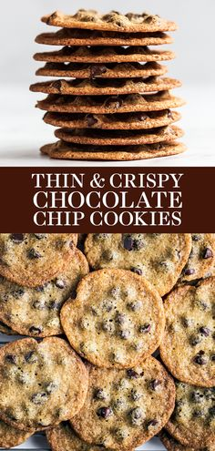 Chocolate Chip Recipes Easy, Thin Chocolate Chip Cookies, Oatmeal Chocolate Chip Cookie Recipe, Flourless Chocolate Cookies, Homemade Chocolate Chip Cookies, Chocolate Desserts, Crunchy Cookies Recipe, Quick Cookies, Crispy Cookies