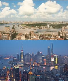 "Shanghai in 1990 and in 2010.  Vivid images of the ""art of quick change"". YES?  #Shanghai"