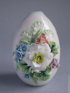 """Пасхальное яйцо - """"Букет"""" - фарфор,ручная работа,ручная лепка,пасхальное яйцо"""