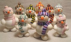 snowmen ornaments-so cute! Polymer Clay Ornaments, Fimo Clay, Polymer Clay Projects, Polymer Clay Creations, Handmade Ornaments, Dough Ornaments, Christmas Cake Topper, Snowman Christmas Ornaments, Polymer Clay Christmas