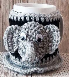 KNITTED mug COSY - Hand Knitted Cozies - Elephant Mug Cosy - Knitted Mug Warmer - Elephant Mug Hug - Mug Warmer & Coaster Set, Mug Cosy Set by RetroShabbyChic on Etsy