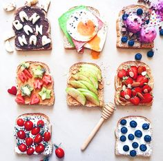 Toasts with toppings. LOVE!