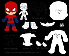 Spiderman Fabric Dolls, Paper Dolls, Imprimibles Toy Story Gratis, Sewing Crafts, Sewing Projects, Felt Patterns, Lol Dolls, Superhero Party, Felt Ornaments