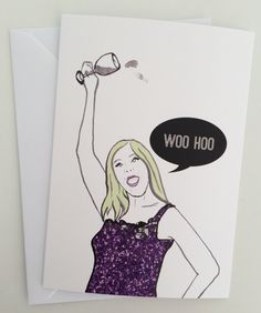 Woo Hoo- Real Housewives Vicki Gunvalson Note/Greetings Card/Invitation by Katsillustration on Etsy