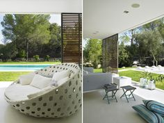 sofisticado e invitador sofá Canasta circular, diseñado por Patricia Urquiola para B&B Italia