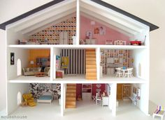 47 Entertaining DIY Dollhouse Projects Your Children Will Love - Page 2 of 2 Modern Dollhouse, Dollhouse Dolls, Bookshelf Dollhouse, Dollhouse Ideas, Homemade Dollhouse, Dollhouse Furniture, Cardboard Dollhouse, Dollhouse Design, Girls Dollhouse