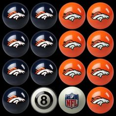 Denver Broncos Pool 8 Ball Billard Set