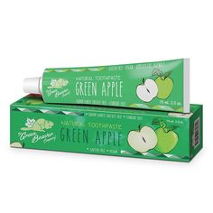 Green Apple Natural Toothpaste by THE GREEN BEAVER COMPANY - Made with entirely vegan and gluten free ingredients, this toothpaste makes brushing your teeth a tasty treat. Cleanses naturally with xylitol and lemon extracts. Silica and calcium carbonate help whiten your teeth. Vitamin C helps with maintenance of your teeth and gums. Free of fluoride, gluten, nuts, sodium laureth sulfate, & triclosan. Vegan. Not tested on animals.