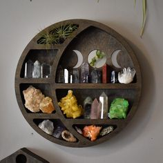 Brown Circular Moon Shelf and Wood Carving Handmade Home Decor, Diy Home Decor, Moon Decor, Bedroom Decor, Wall Decor, Mirror With Shelf, Witch Decor, Crystal Shelves, My New Room