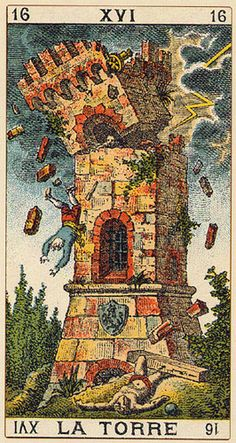 The Tower tarot card from either the Italian Classic deck or the Soprafino Tarot deck. Either way, I like its antique quality.