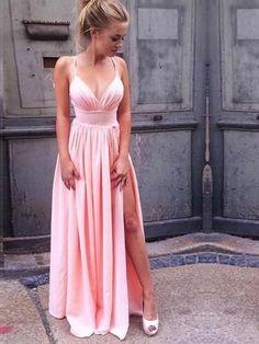 c9f3f48460 Pink Slit Chiffon Spaghetti Straps Floor-Length Prom Dress  Pinkdress   Slitdress  Chiffondress