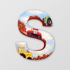 Custom Hand Painted Wooden Letters Tractor Theme   by ArtByIsadora, #etsymntts #etsymntttt #etsymnttbt