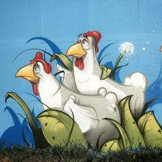 Hombre SUK graffiti street art chickens farm