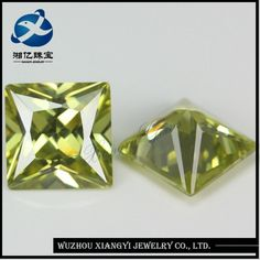 Source 13mm Princess cut fashion olive yellow square wholesale gemstones synthetic diamond stone prices gemstones in dubai on m.alibaba.com
