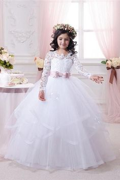 long sleeves white fist communion dress with blush pink sashes white flower girl dress kid pageant dress custom made flower girl dress