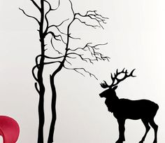 Bird Deer Geese LARGE  Forest Wall Decal Vinyl Art   LARGE. $80.00, via Etsy.