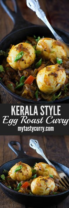 Kerala Egg roast is dry/semi-dry spicy egg curry to serve with Hot and fluffy appams or idiyappam as traditional Kerala breakfast. This egg roast dry curry is also known as nadan mutta roast in Kerala. Curry Recipes, Egg Recipes, Indian Food Recipes, Vegetarian Recipes, Kerala Recipes, Soup Recipes, Best Breakfast Recipes, Breakfast Dishes, Egg Roast