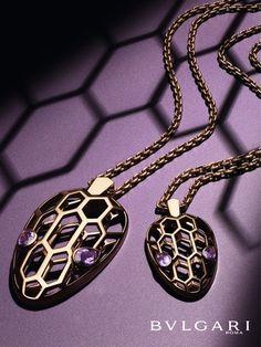 serpenti seduttori rose gold necklace with striking amethyst