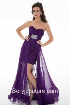 Fashion High Low Hem Strapless Purple Chiffon Ruched Homecoming Prom Dress With Beading