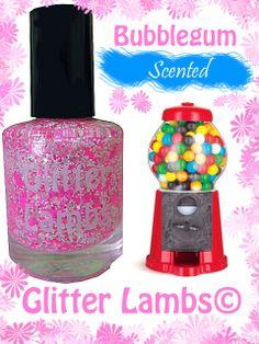 Bubblegum: SCENTED Pink Glitter Nail Polish -Glitter Nail Polish Lacquer- Indie Nail Polish Custom Handmade