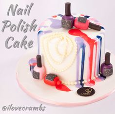 Nail Polish Birthday Cake very popular with the young ladies   www.crumbs.com.kw