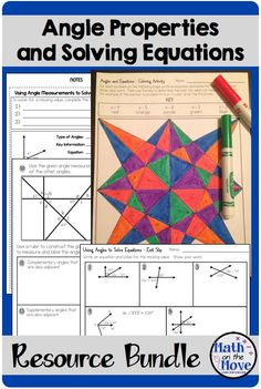 Interactive notes, worksheets and activities that can be used to introduce, practice and assess four types of angles (adjacent, vertical, complementary and supplementary).  Students will use these types of angles to set up and solve algebraic equations to find missing values.