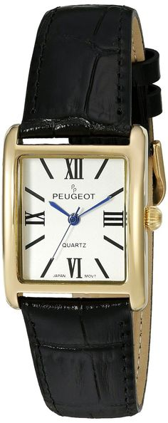 Peugeot Womens 14K Gold Plated Tank Leather Dress Watch Black NEW