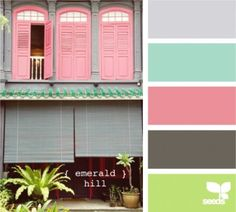 Design Seeds - emerald hill hues Stampin' Up! colours that are similar - Smoky Slate, Coastal Cabana, Pink Pirouette, Basic Grey and Pistachio Pudding. Color Scheme Design, Colour Pallette, Color Palate, Colour Schemes, Color Combos, Color Patterns, Design Seeds, Tiffany Rose, Pink Design