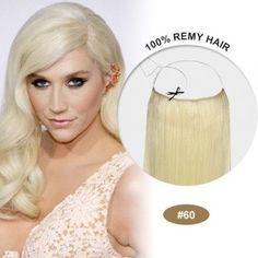 """Halo Hair Extensiones 100% Human Remy natural hair 18"""" white blonde #60 by peloxtensiones on Etsy"""